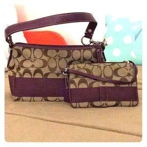 Matching handbag and wristlet